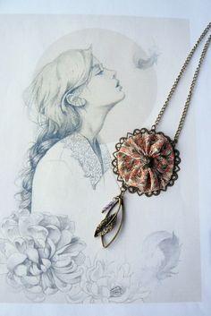 Collier Sautoir Soie et Cristal Swarovski, Femme Romantique Bohême Chic : Collier par mon-armoire-jolie