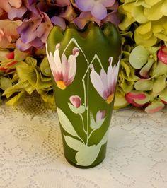 Beautiful Loetz Art Glass Vase ~ Crete Glatt ~ Enameled Flowers
