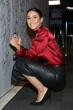 "breathtakingwomen: ""Emmanuelle Chriqui at the At AOL Build, New York City December, "" Emmanuelle Chriqui, Leather Pants Outfit, Satin Bluse, Satin Shirt, Black Leather Skirts, Beautiful Blouses, Red Blouses, Blouse Dress, Satin Dresses"