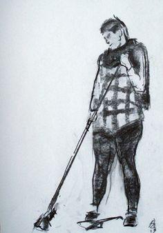 Ejercicio 5. Apuntes de figura de pie. 35x50. Juan Azpeitia. Carboncillo