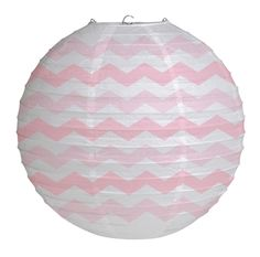 Party Souq - Pastel Pink Chevron Stripe Tissue Lantern|1 pc, $ 16.42
