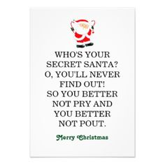 Need Funny Secret Santa Poem postage to help send that card on its way? Description from zazzle.com. I searched for this on bing.com/images