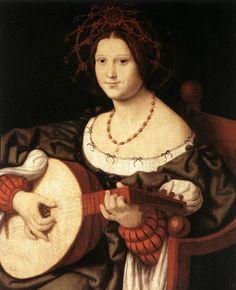 Necklace. Little bows on chemise. Andrea Solario (1460-1524) - The Lute Player, ca 1510, Galleria Nazionale d'Arte Antica, Rome