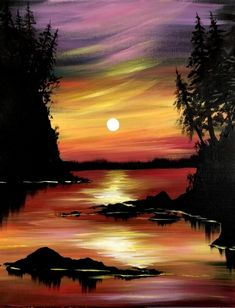 Check out Magical Rainbow Sunset at The Lister Bar - Yaymaker Easy Landscape Paintings, Easy Paintings, Easy Painting Projects, Art Projects, Painting & Drawing, Watercolor Paintings, Acrylic Paintings, Colored Pencil Artwork, Watercolor Sunset