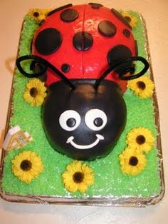 I made my little girl a ladybug cake for her birthday..very similar to this.  Her favorite color is red (told me she wanted a red cake) and she already had a ladybug costume from last Halloween so I thought it would be perfect!