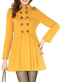 A-Line Double-Breasted Stand Collar Solid Color Slim Fit Graceful Coat on buytrends.com