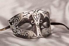 Handheld Masquerade Masks for Men - SMOKING SILVER STICK