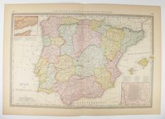Antique spain map vintage map portugal 1887 old world map gift for large vintage spain map portugal 1881 rand mcnally map of spain portugal map spanish decor gift for couple spain travel map 15 x 22 map gumiabroncs Gallery