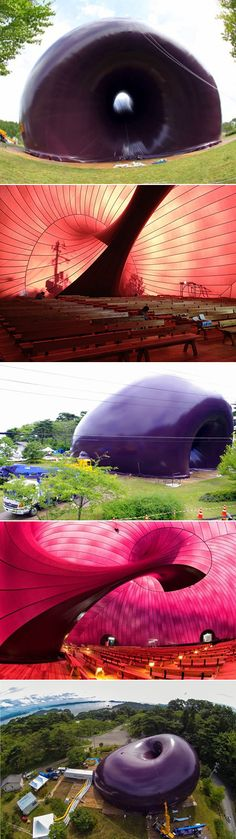 Ark Nova is a 500-seat concert hall that can be packed up and transported thanks to its inflatable structure—according to its creators, the Ark Nova is the world's first mobile inflatable concert hall. It measures 98 feet by 118 feet and features a rounded, organic design by British sculptor Anish Kapoor and Japanese architect Arata Isozaki.