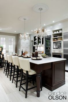 By its very nature, a kitchen with all of its hard and shiny surfaces can feel cold and sterile. The comfort and intimacy created by the use of mid- level and decorative lighting like chandeliers and pendants is one of the keys to adding visual warmth. http://www.aflighting.com/candice_olson/Default.aspx