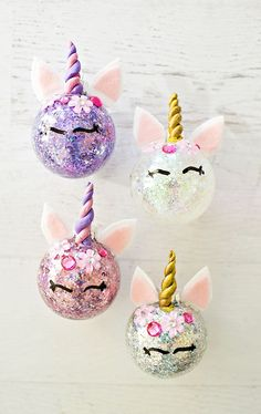 hello, Wonderful - DIY GLITTER UNICORN ORNAMENTS