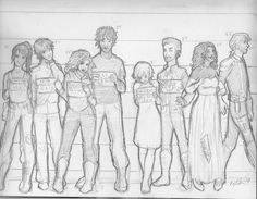 In lieu of some new height info, I drew a sloppy little line-up They gots arrested. Cinder and Scarlet are pissed, Wolf and Cress are little puppy dogs,. Character Line-up Moleskine, Marissa Meyer Books, Lunar Chronicles, Little Puppies, Cinder, Disney Fan Art, Mug Shots, Art Music, Good Books