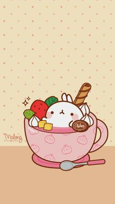 Molang Strawberry, pink, teacup, sweets