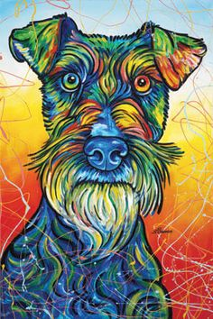 """Outstanding """"schnauzer dogs"""" detail is available on our site. Schnauzer Art, Giant Schnauzer, Miniature Schnauzer, Animal Drawings, Art Drawings, Schnauzers, Schnauzer Puppies, Colorful Animals, Mundo Animal"""