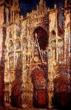 """CLAUDE MONET (Francês: 1840 - 1926) Foi um pintor impressionista / Catedral de Rouen, 1894  NOTA: a crítica pejorativa feita a um de seus quadros (""""Impression soleil levant"""", 1872) pelo pintor e escritor Louis Leroy deu origem ao nome usado para definir o movimento  Todos discutem minha arte e fingem compreender, como se fosse necessário compreendê-la, quando é simplesmente necessário amar. Monet"""