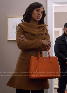 Christian Dior. Olivia's tan coat with gathered neck on Scandal.  Outfit Details: https://wornontv.net/68590/ #Scandal