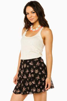 Flowering Garden Skirt in Black / ShopSosie #black #lace #floral #skirt #shopsosie #sosie