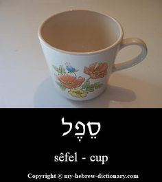 Cup in Hebrew.  Learn more Hebrew also at: http://olivepresspublisher.com/hebrew-beginning-your-journey.html