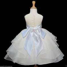 NEW IVORY ORGANZA BRIDESMAID PAGEANT WEDDING FLOWER GIRL DRESS SM MED 2 4 6 8 10 #Dress