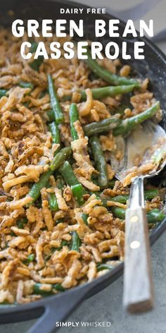 Dairy Free Green Bean Casserole (Vegan Option) This is the EASIEST homemade gree. - Dairy Free Green Bean Casserole (Vegan Option) This is the EASIEST homemade green bean casserole an - Yummy Recipes, Bean Recipes, Healthy Recipes, Recipies, Snack Recipes, Homemade Green Bean Casserole, Vegan Green Bean Casserole, Vegan Casserole, Dairy Free Thanksgiving Recipes