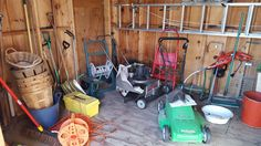 """Contents of shed included lawn equipment and tools. Craftsman 25"""" vacuum/shredder/bagger/blower; Lawn Boy mower (requires repair) 6 horsepower; Werner 24' extension ladder; B&D weed wacker; B&D hedge trimmer; (2) pole saws; heavy plastic corner tool rack; assortment of doors and shutters, assortment of small furniture; peach baskets, step ladder; other items seen in photos"""