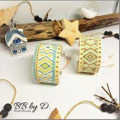 Bracelet Manchette en perles Miyuki Délica et Strass. Bracelet Multirangs Bleu, ivoire. Manchette large en perles style ethnique, boho chic.   BB by D.