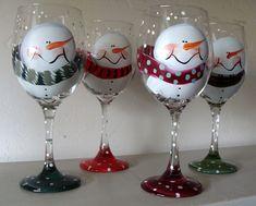Juego de copas de vino de muñeco de nieve de por LynnStAubinDesigns