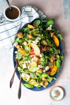 peach and feta panzanella salad recipe - Foodness Gracious