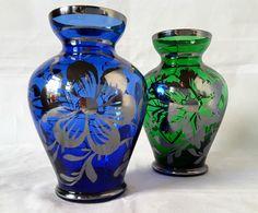 "PAULY & C.?~VENETIAN~COBALT BLUE~EMERALD GREEN~SILVER TRIM~ART GLASS~VASES~4.25""H Lots more beautiful art glass available at: http://www.ebay.co.uk/usr/seraphimslair2 Also see my Twitter: https://twitter.com/Seraphimslair"
