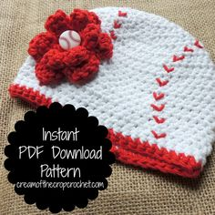 What an adorable crochet girl baseball hat! Imagine how cute this hat would be for a photo prop, gift, or your little one! This is a beginner pattern, but who won't want to make it?! It comes with 6 great sizes, and the flower pattern comes with it! It also has tips on how to make your hats look better! If you have any questions, or need help just contact me! I would be glad to help!