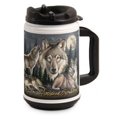 Wildlife Collage Series 24-oz. Plastic Thermal Mugs are perfect for accompanying the modern day explorer on any outdoor adventure. The double-walled construction and spill-proof lid helps keep hot beverages hot, and cold beverages cold while working or playing outdoors.