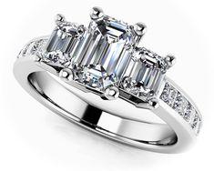 Three Stone Emerald Cut Channel Ring