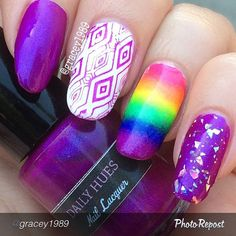 "by @gracey1989 ""Last in the rainbow from the Shifty Neons collection @dailyhuesnaillacquer Piper, a royal purple with a blue shimmer to it. Stamps wonderful and look at how Aurora (glitter topper) stands out on this polish  don't forget this collection will be released May 31st! "" via @PhotoRepost_app"