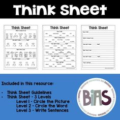 A think sheet is a visual way to debrief with a child following a behavioral episode. This sheet allows a child to reflect on their behavior and how it made others feel.
