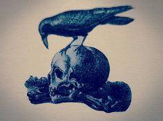 #skull#raven
