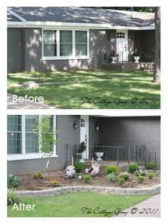 Before and after. The shrubs will accent the house as they mature.