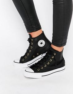 Converse Perforated Leather Chuck Taylor Hi Top Trainers