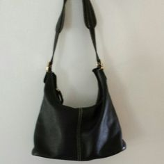 Pebble grain leather black purse. SOFT!  Black leather with zippered,back pocket, inside zippered pocket and two slots.  Barely used, like new.  Made by  MUNDI. Mundi Bags Shoulder Bags
