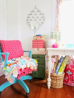 Trisha Brink's bright and colourful craft room