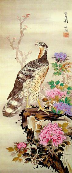 曽我蕭白 Shohaku Soga『牡丹鷹図』