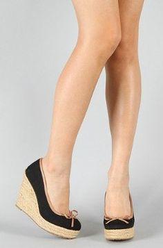 Qupid Wedges Platform Espadrille High Heel Round Toe NEW Women Causal Walking Shoes Black