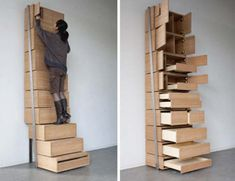 Floor-to-Ceiling Chest of Drawers becomes Stairs to reach to top.