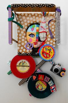 I Thought You Said You Had To Go Party    mixed media recycled found object sculpture. $750.00, via Etsy.