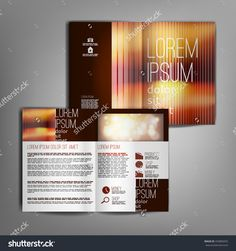 Business brochure design template with bright blurred abstract brown background. Vector flyer layout, cover, poster design.