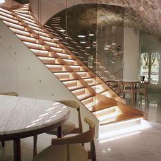 Stairs, Underlit, Wood, Marble table, exposed stone ceiling    Le Sergent Recruteur Restaurant, Jaime Hayon