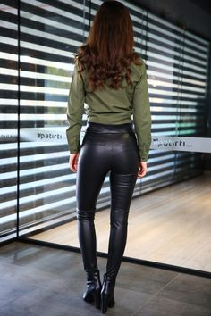 Woman in leather