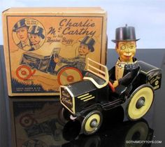 Marx Charlie McCarthy Benzine Buggy. Mechanical tin toy from 1930s/ebay