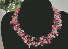 Floating multi strand layer choker statement Necklace fresh water pearl genuine beads Rosequarz Sterling silver on invisible illusion cord Layered Chokers, Pearl Gemstone, Red Garnet, Beautiful Necklaces, Rose Quartz, Illusions, Handmade Jewelry, Gemstones, Pearls