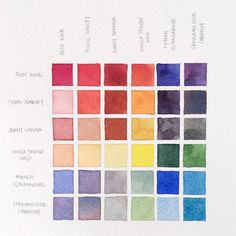 5 Types of Watercolor Charts - Type Color Mixing Chart Watercolor Pallet, Watercolor Mixing, Watercolor Projects, Watercolor Tips, Watercolor Techniques, Watercolor Fashion, Art Techniques, Watercolor Paintings, Food Coloring Mixing Chart
