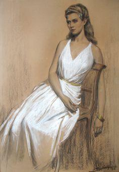 Alejo Vidal Quadras | Retrato de la señora Amalia Lacroze de Fortabat | 1946 | Carbonilla y pastel sobre papel | 100 x 70 cm